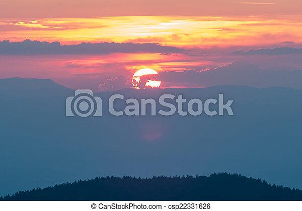 Blue Ridge Parkway Autumn Sunset over Appalachian Mountains  - csp22331626