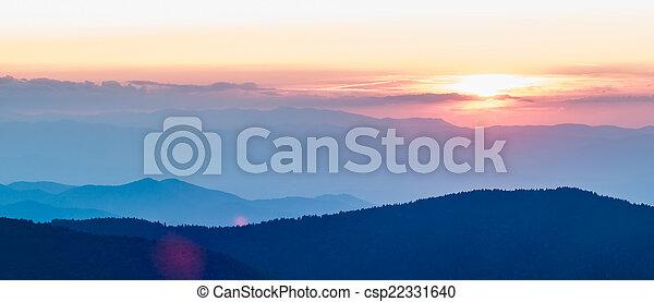 Blue Ridge Parkway Autumn Sunset over Appalachian Mountains  - csp22331640