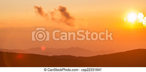 Blue Ridge Parkway Autumn Sunset over Appalachian Mountains  - csp22331641