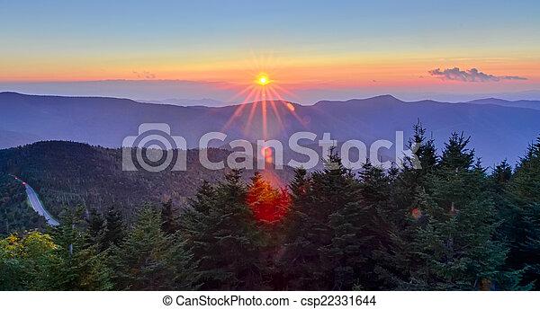 Blue Ridge Parkway Autumn Sunset over Appalachian Mountains  - csp22331644