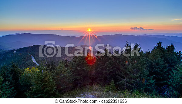 Blue Ridge Parkway Autumn Sunset over Appalachian Mountains  - csp22331636