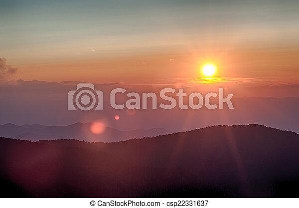 Blue Ridge Parkway Autumn Sunset over Appalachian Mountains  - csp22331637