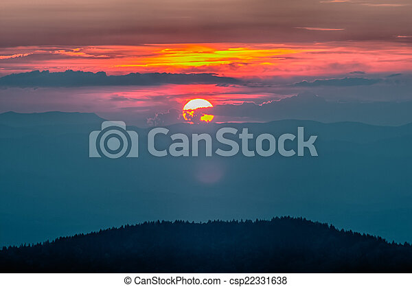 Blue Ridge Parkway Autumn Sunset over Appalachian Mountains  - csp22331638