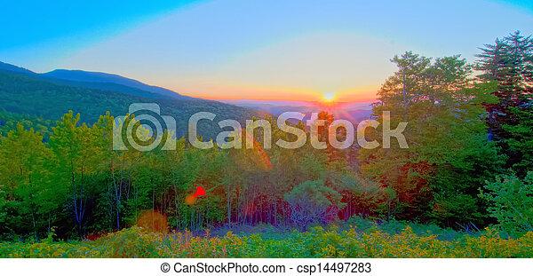 blue ridge parkway early morning - csp14497283