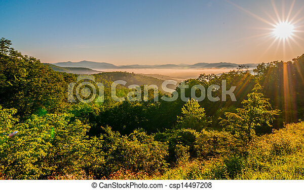 blue ridge parkway early morning - csp14497208