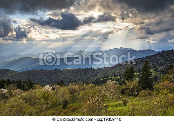 Blue Ridge Parkway Landscape North Carolina Appalachian Mountains evening sunset photography south of Asheville NC - csp19359418