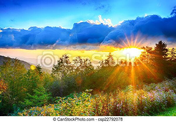 Blue Ridge Parkway late summer Appalachian Mountains Sunset West - csp22792078