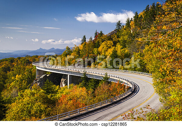 Blue Ridge Parkway Linn Cove Viaduct North Carolina Appalachian Landscape scenic travel photography in autumn - csp12281865