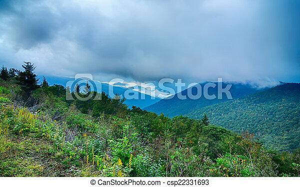 Blue Ridge Parkway National Park Sunrise Scenic Mountains summer - csp22331693