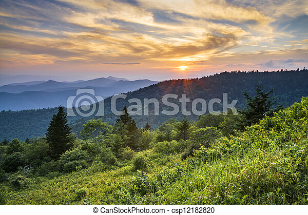 Blue Ridge Parkway Sunset Cowee Mountains Scenic Landscape in Western North Carolina - csp12182820