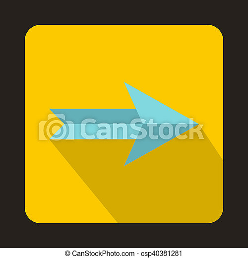 Blue right arrow icon, flat style - csp40381281