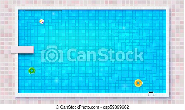 Blue ripped water in swimming pool, top view. Big outdoor pool with  inflatable water toys, flat lay view. Air mattress, beach ball, rubber  circle. ...