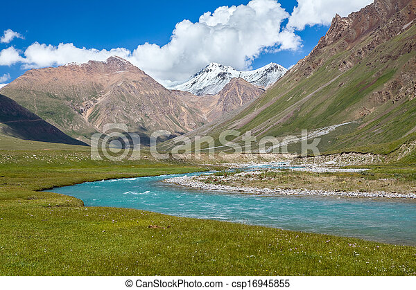 Blue river and snow peaks of Tien Shan mountains - csp16945855