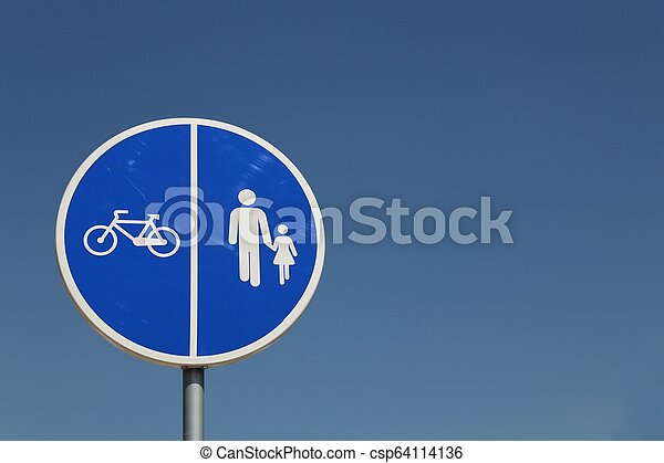 Blue road sign for bicycle and pedestrian - csp64114136