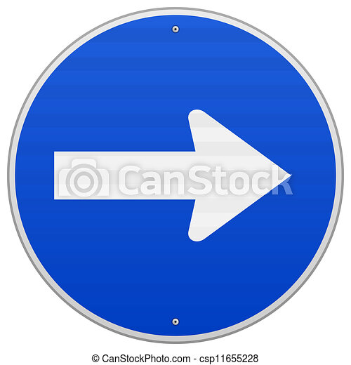 Blue Roadsign Pointing Right - csp11655228