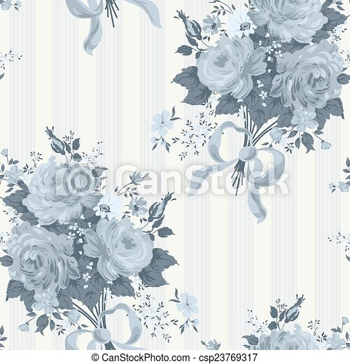 Blue Rose Vintage Wallpaper Floral Pattern