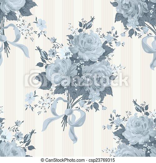 Blue roses floral wallpaper. Vector pattern - csp23769315