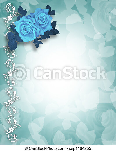 Blue Roses Invitation Illustration Composition For Wedding Invitation Valentine Anniversary Or Party Background Template