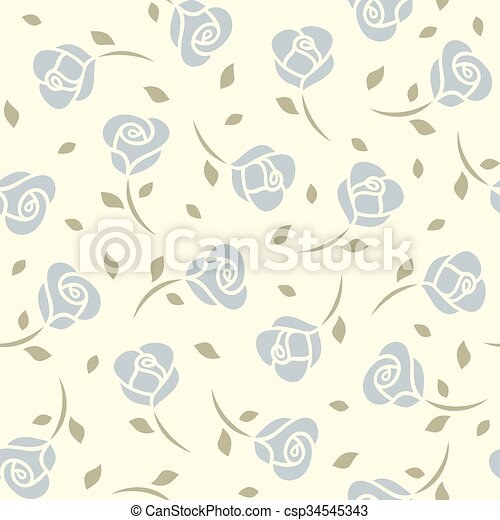 Blue roses seamless pattern - csp34545343