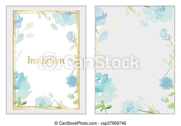 Blue roses wedding invitation - csp37669746