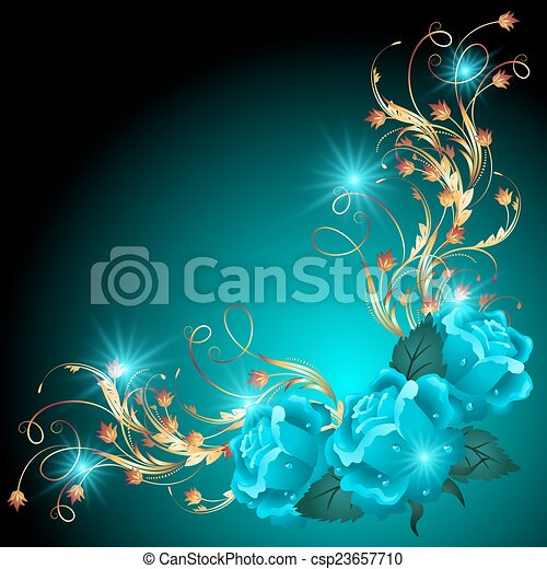 Blue roses with golden ornament - csp23657710
