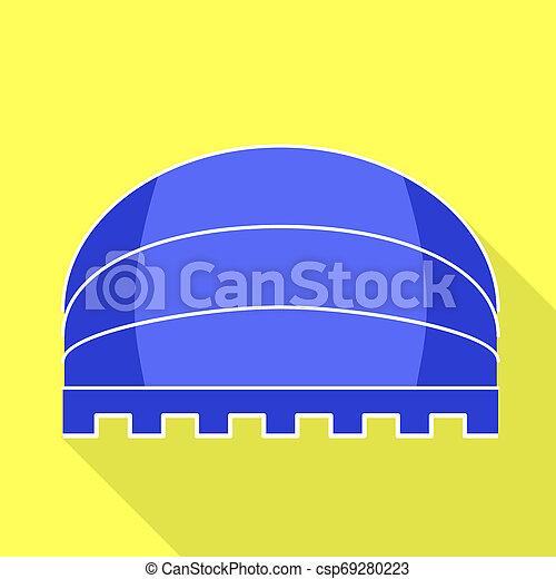 Blue round awning icon, flat style - csp69280223