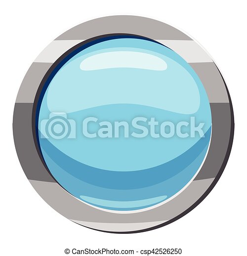 Blue round button icon, cartoon style - csp42526250
