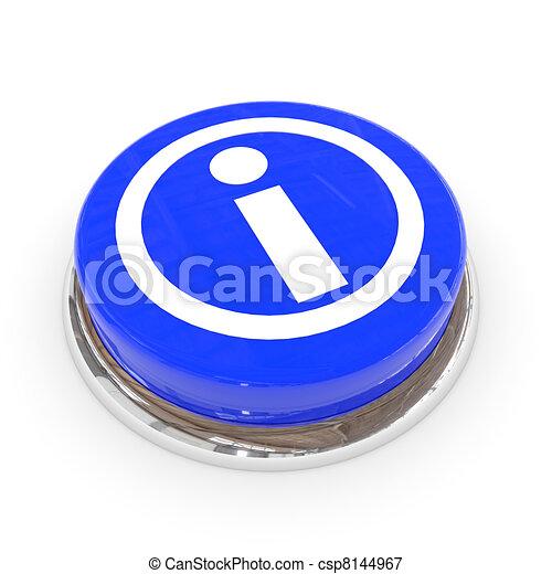 Blue round button with information sign. - csp8144967