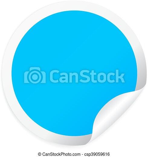 Blue round sticker - csp39059616