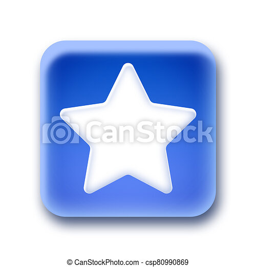 Blue rounded square button - Star - csp80990869