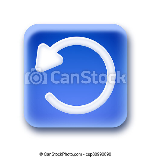 Blue rounded square button - Undo - csp80990890