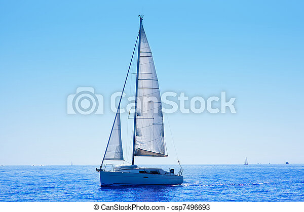 blue sailboat sailing mediterranean sea - csp7496693