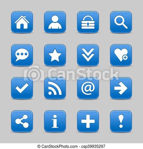 Blue satin icon web button with white basic sign - csp39935297