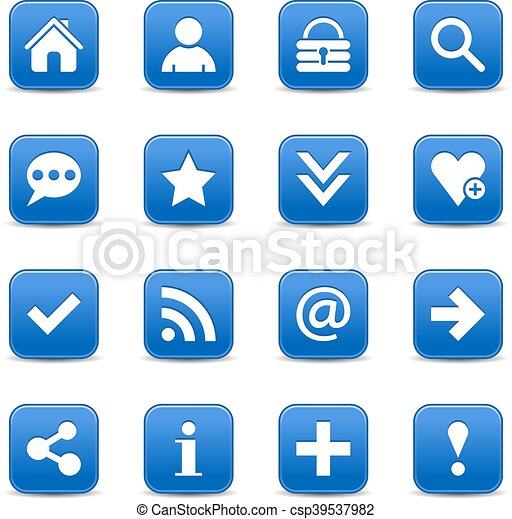 Blue satin icon web button with white basic sign - csp39537982
