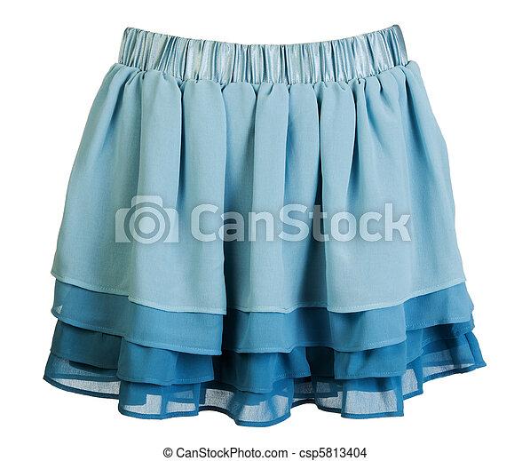 Blue satin mini skirt - csp5813404