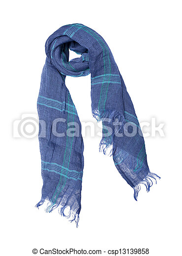 Blue scarf isolated on white background - csp13139858