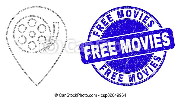 Blue Scratched Free Movies Stamp and Web Carcass Movie Map Marker - csp82049964