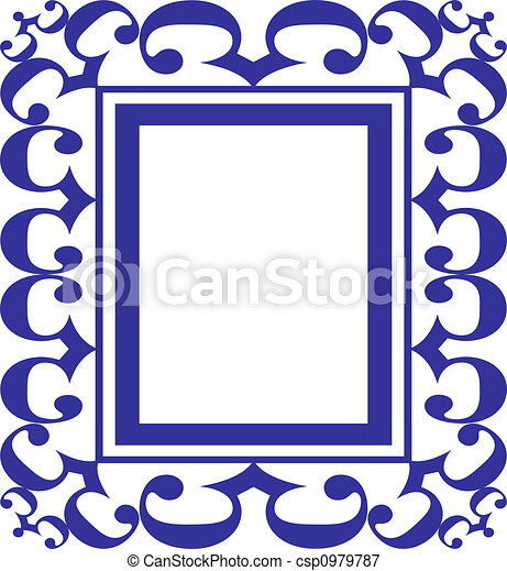 Blue scroll frame art illustration to go in the series of... stock ...