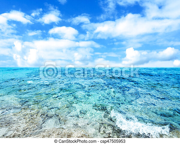 Blue  sea and cloudy sky - Abstract Summer Background- - csp47505953