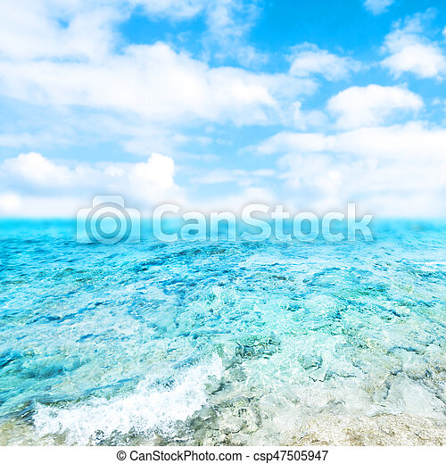 Blue  sea and cloudy sky - Abstract Summer Background - csp47505947