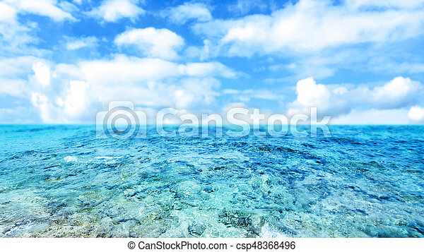 Blue  sea and cloudy sky - Abstract Summer Background with cloudy sky for your design - csp48368496