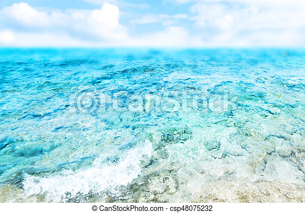 Blue  sea and cloudy sky - Abstract Summer Background - csp48075232