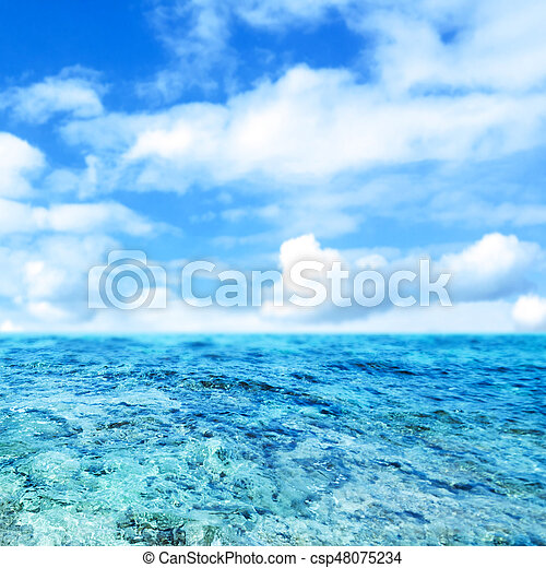Blue  sea and cloudy sky - Abstract Summer Background- - csp48075234