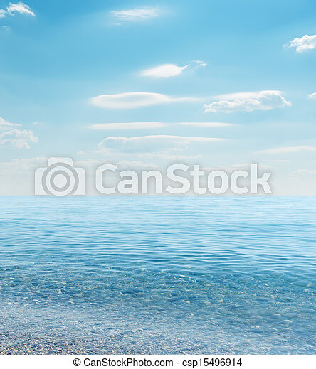 blue sea and cloudy sky - csp15496914