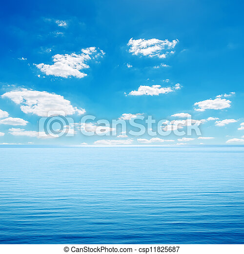 blue sea and cloudy sky - csp11825687