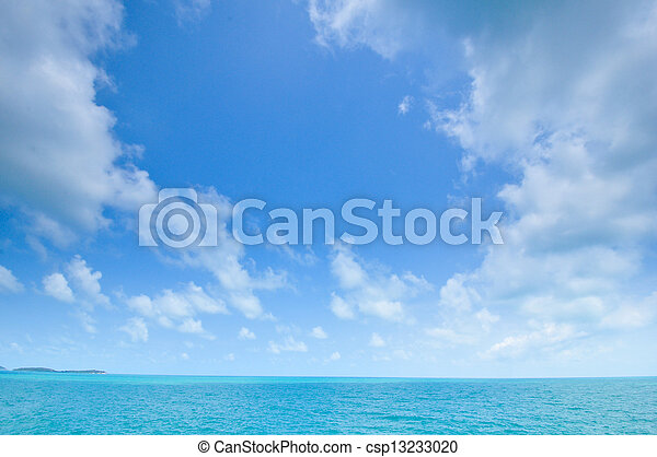 blue sea and cloudy sky - csp13233020