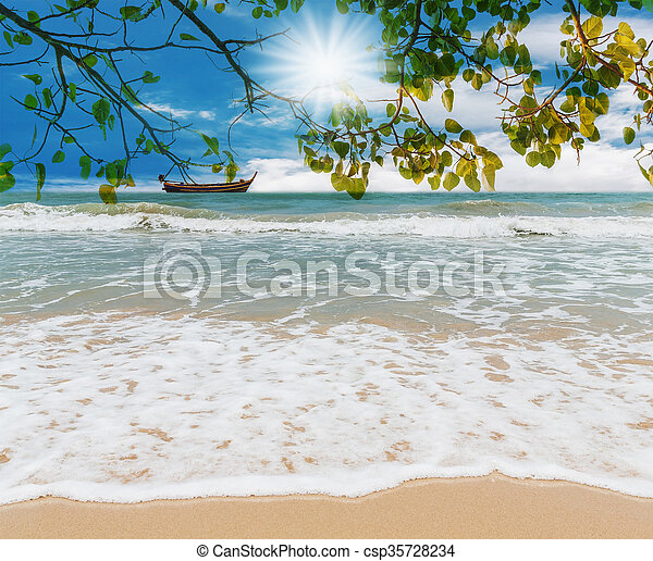 Blue sea and green leaf with white sand beach - csp35728234