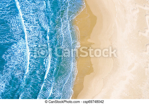blue sea at the beach seen from above - csp69748042