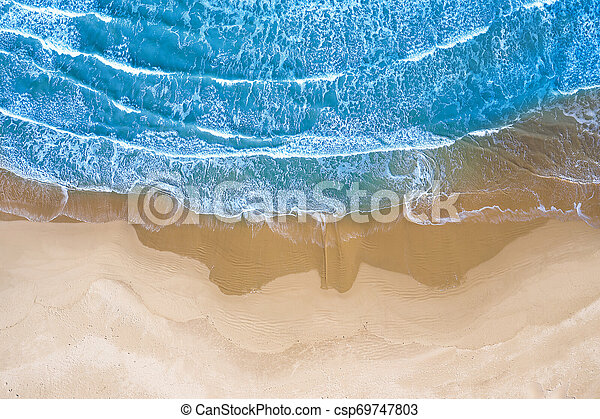 blue sea at the beach seen from above - csp69747803