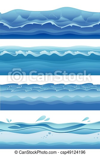 Blue Sea Water Waves Seamless Background Set For Game Design Vector Illustration Isolated On White